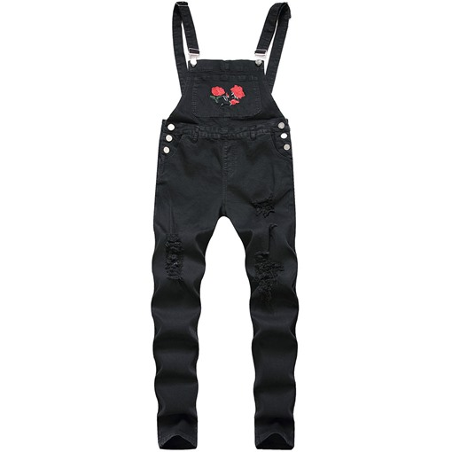 Embroidery Floral Full Length Straight European Men's Jumpsuits/Overalls