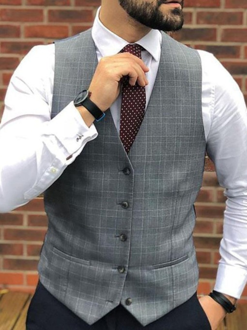 European V-Neck Plaid Fall Men's Waistcoat