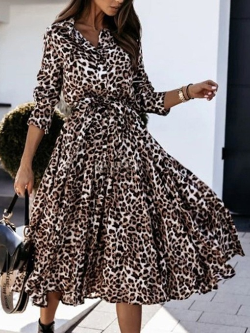 Long Sleeve Mid-Calf Print Lapel Single-Breasted Women's Dress