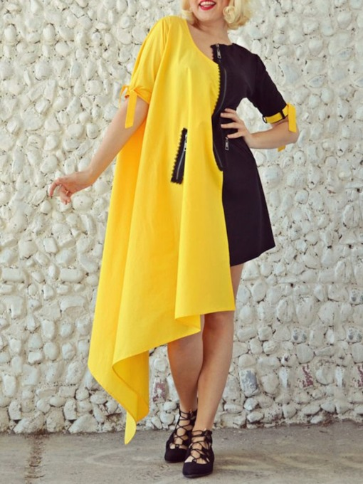 Ankle-Length Patchwork Short Sleeve Office Lady Women's Dress