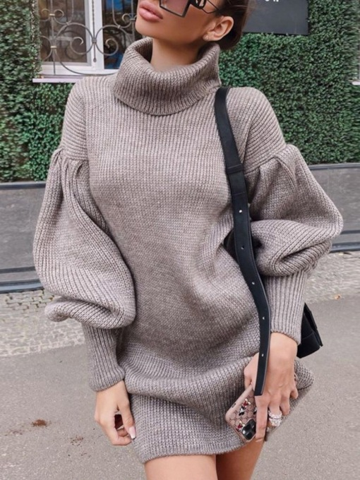 Above Knee Turtleneck Long Sleeve Pullover Women's Dress