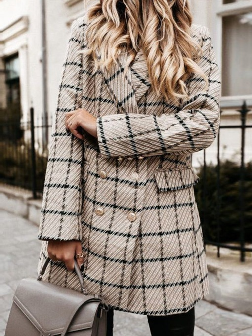 Double-Breasted Long Sleeve Plaid Notched Lapel Mid-Length Women's Casual Blazer