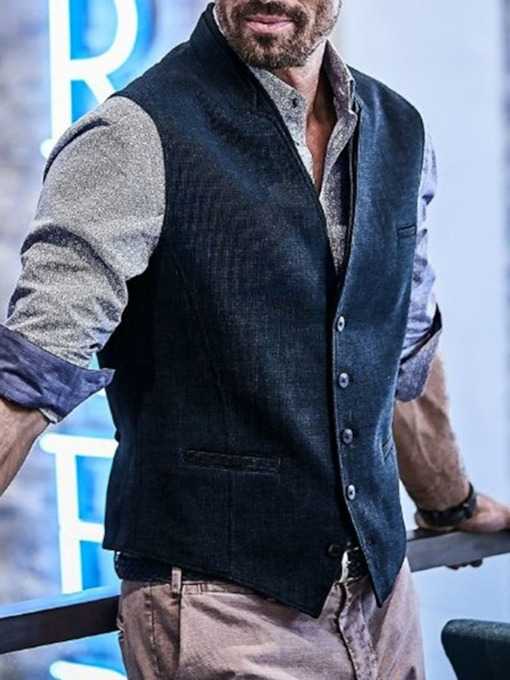 Stripe Single-Breasted Men's Waistcoat