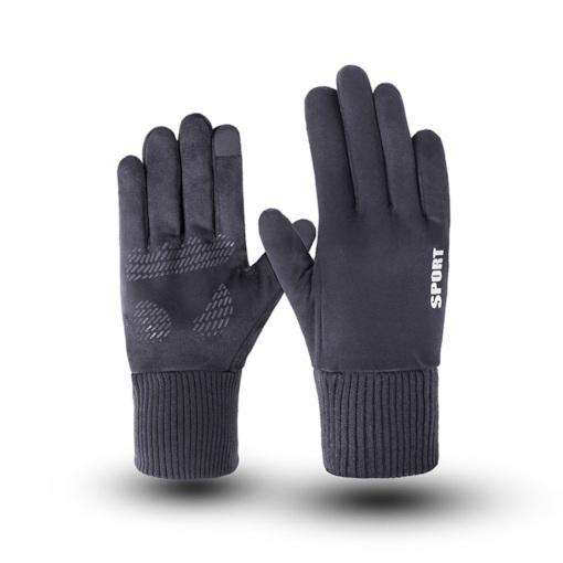 Letter Suede Sports Winter Gloves