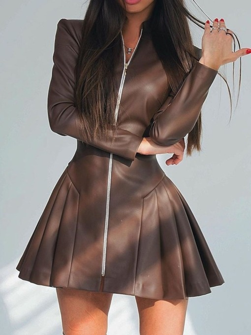 Long Sleeve Pleated Above Knee Stand Collar Sweet Women's Dress