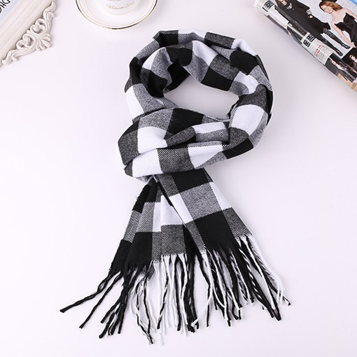 Imitation Cashmere Tassel Scarf Plaid Scarves