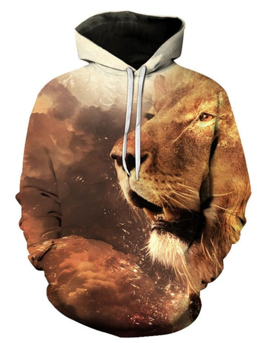 Casual Print Animal Pullover Pullover Men's Hoodies