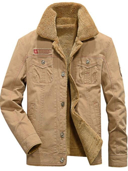 Lapel Letter Thick Embroidery Straight Men's Jacket