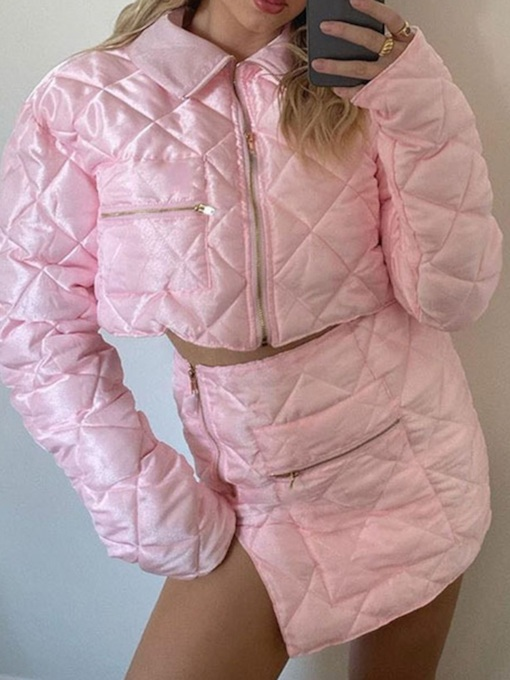 Sweet Split Plain Padded Coat Zipper Women's Two Piece Sets