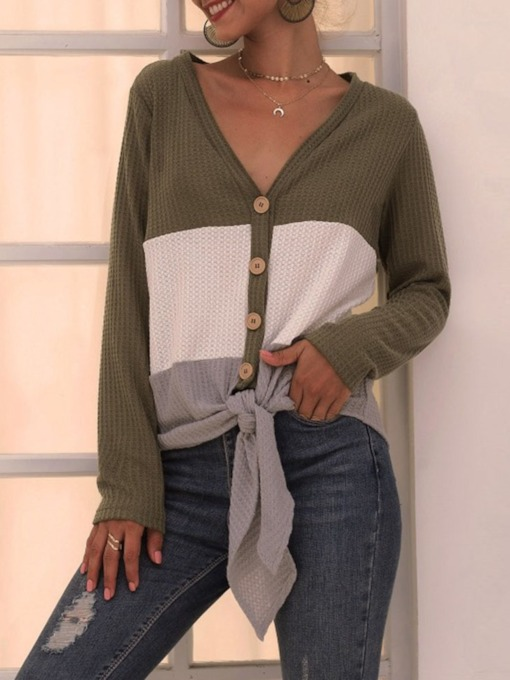 Single-Breasted Regular Lace-Up Loose Women's Sweater