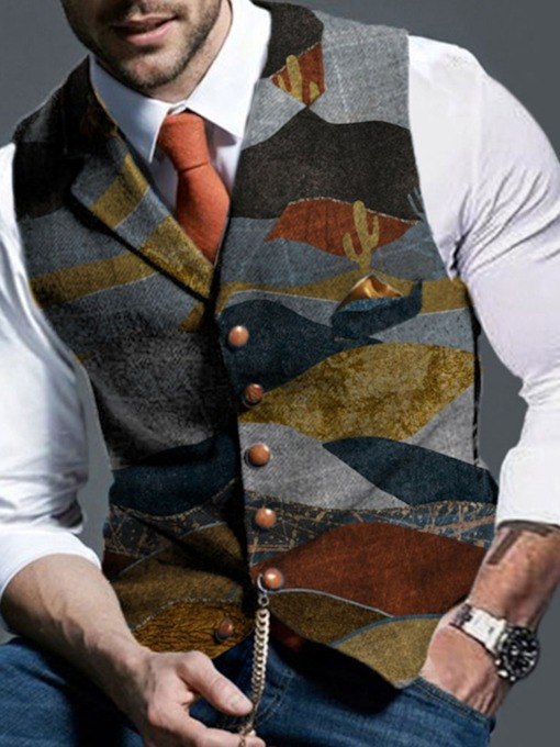 Color Block European Men's Waistcoat