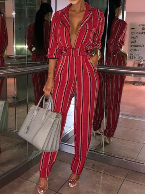 Pocket Full Length Stripe Casual Loose Women's Jumpsuit