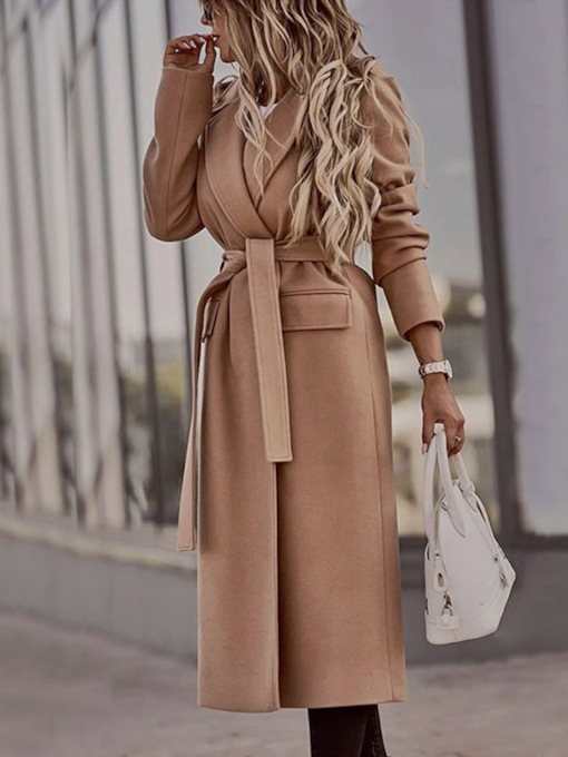 Plain Belt Slim Lace-Up Lapel Women's Overcoat