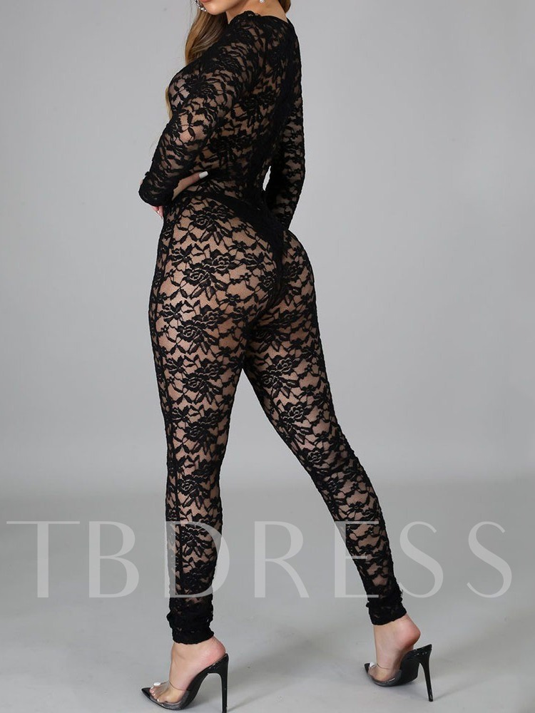 Floral Ankle Length Hollow Western Skinny Women's Jumpsuit