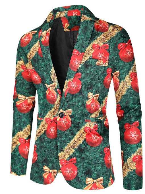 European Slim Print Notched Lapel Men's Leisure Blazer