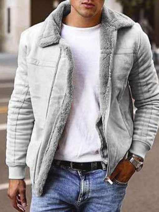 Plain Lapel Fleece Winter Men's Jacket