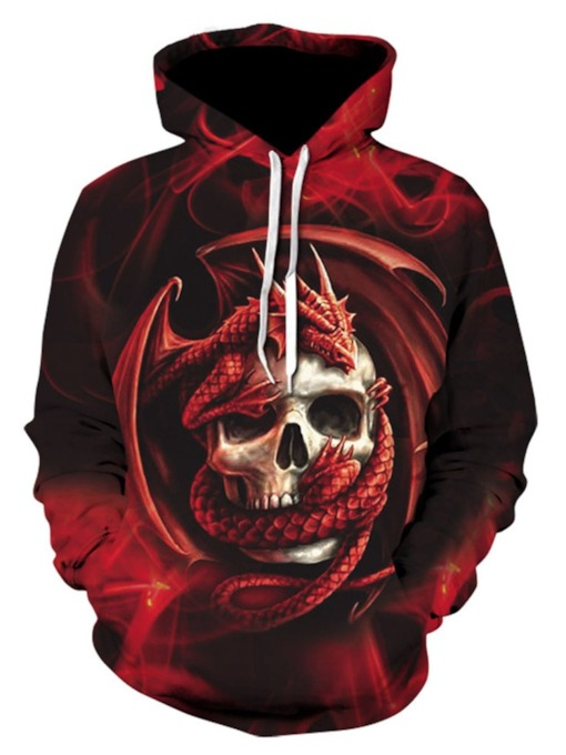 Pullover Skull Print Loose Men's Hoodies