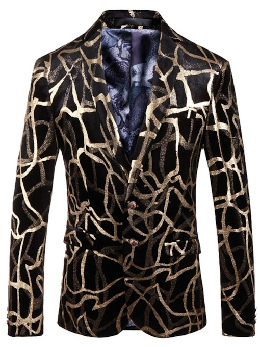 Print Single-Breasted European Notched Lapel Men's Leisure Blazer