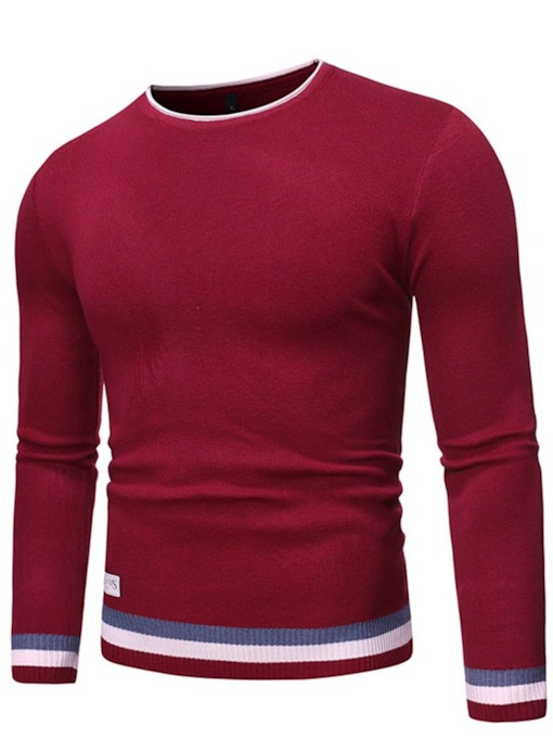 Standard Round Neck Color Block Casual Slim Men's Sweater