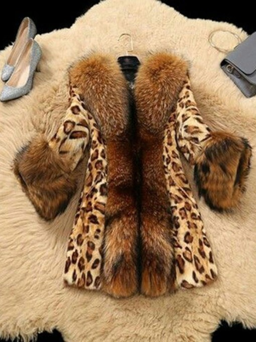 Leopard Lapel Mid-Length Regular Slim Women's Faux Fur Overcoat