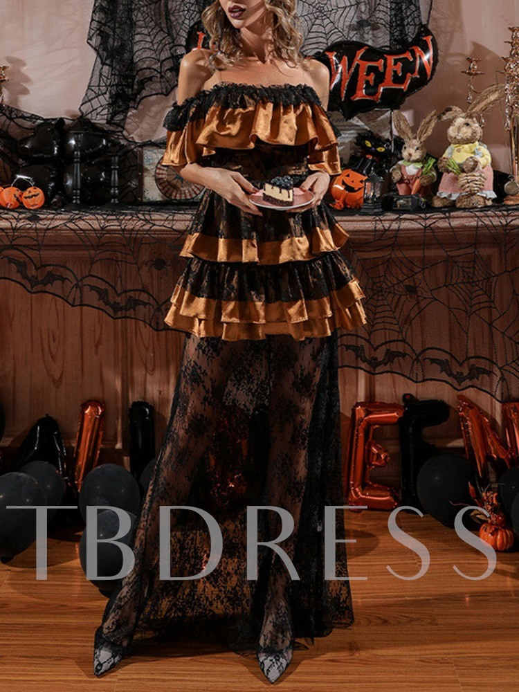 Off Shoulder See-Through Floor-Length Half Sleeve Sweet Women's Dress