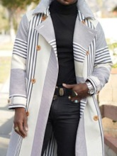 Long Print Stripe Lapel Straight Men's Coat