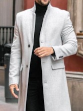 Lapel Plain Mid-Length Fall Men's Coat