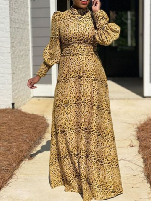 Floor-Length Lace-Up Stand Collar Long Sleeve Leopard Women's Dress