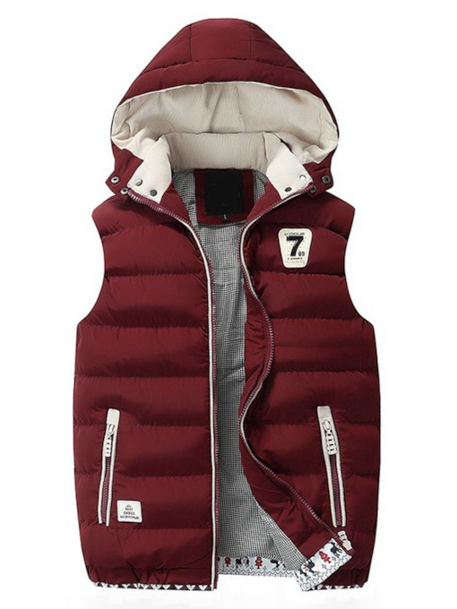 Number Thick Stand Collar Appliques Winter Men's Waistcoat