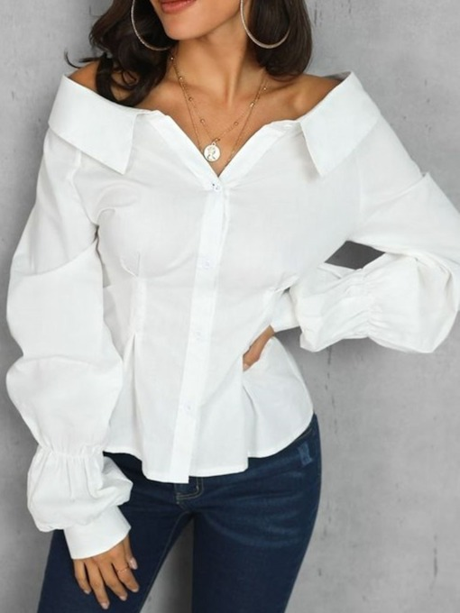 Plain Standard Lapel Long Sleeve Women's Blouse
