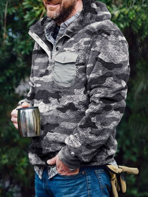Patchwork Pullover Thick Camouflage Slim Men's Hoodies