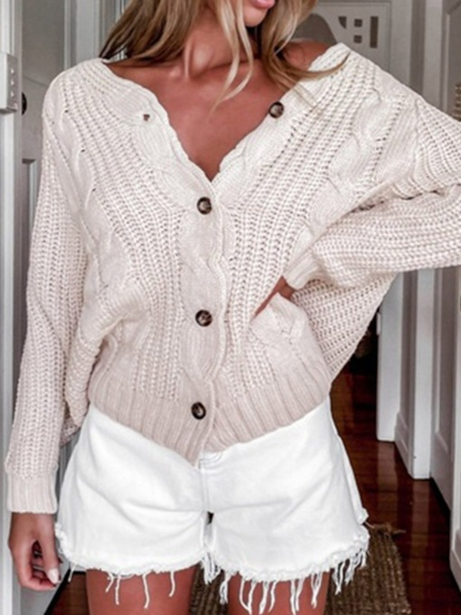 Thin Button Regular Single-Breasted Long Sleeve Women's Sweater