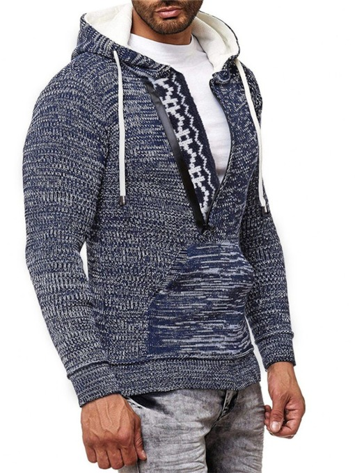 Hooded Pocket Standard European Men's Sweater