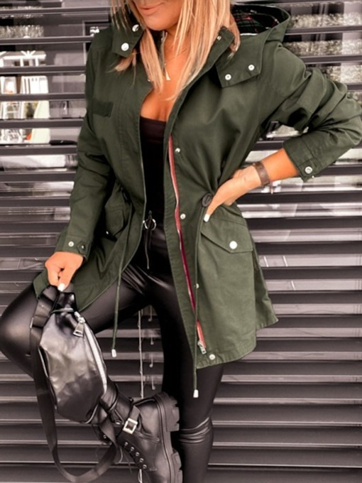 Zipper Mid-Length Zipper Fashion Women's Trench Coat