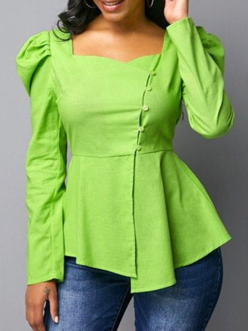 Puff Sleeve Plain Pleated Long Sleeve Women's Blouse