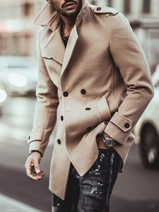Mid-Length Lapel Plain Fall Men's Coat
