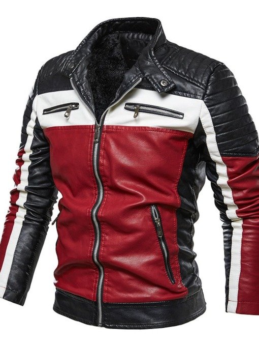 Color Block Standard Stand Collar Winter Men's Leather Jacket