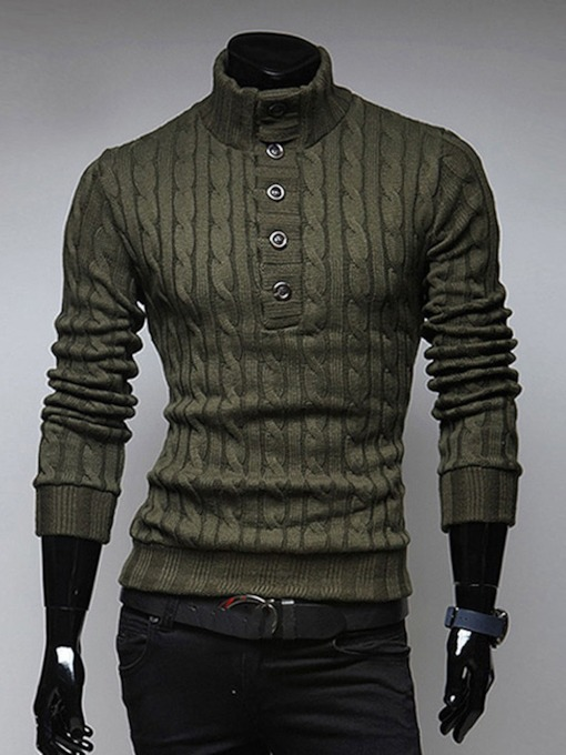 European Plain Standard Slim Men's Sweater