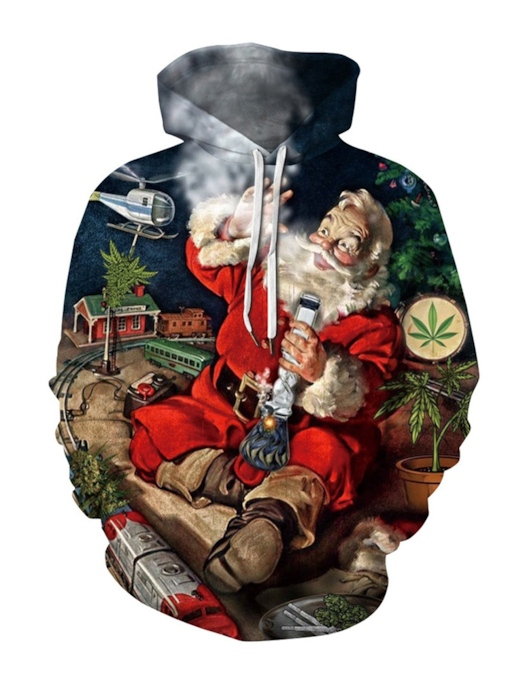 Print Pullover European Christmas Men's Hoodies