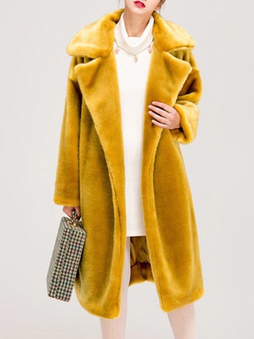 Long Plain Lapel Straight Women's Faux Fur Overcoat