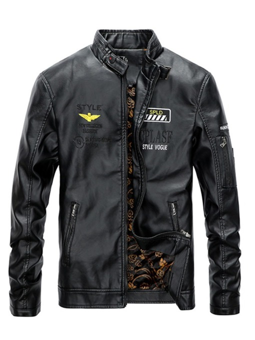 Stand Collar Letter Standard Embroidery Men's Leather Jacket