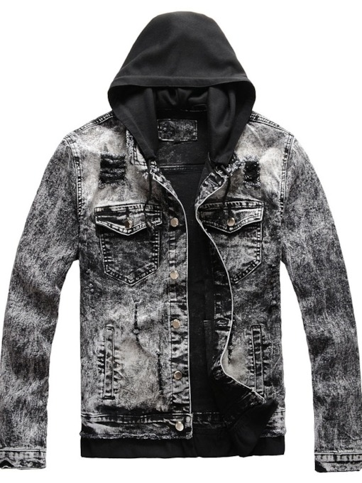 Patchwork Hooded Stripe Single-Breasted Men's Jacket