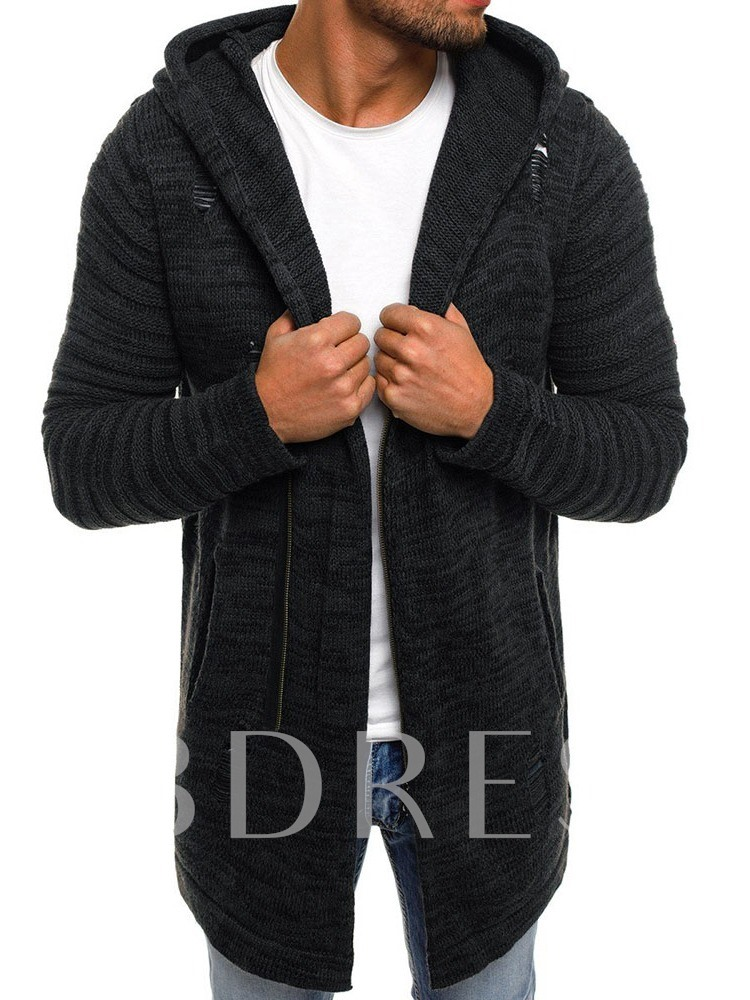 Hooded Mid-Length Hole Zipper Men's Sweater