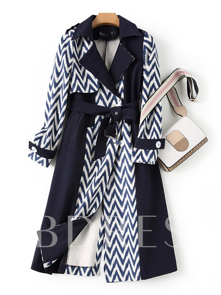Long Lapel Button Double-Breasted Long Sleeve Women's Trench Coat