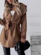 Mid-Length Lace-Up Lace-Up Lapel Slim Women's Trench Coat