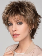 Women's Short Layered Choppy Hairstyle Straight Synthetic Hair Basic Capless 10 Inches 120% Wigs