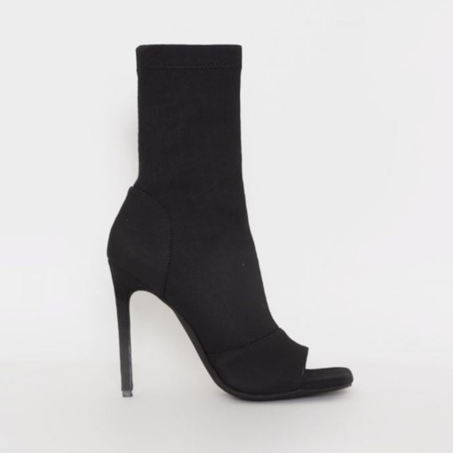 Stiletto Heel Plain Side Zipper Open Toe Banquet Boots