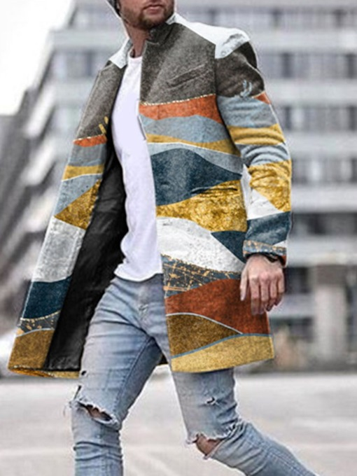 Color Block Lapel Mid-Length European Men's Coat