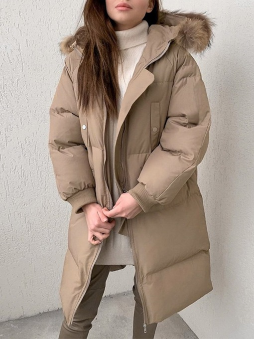 Zipper Thick Patchwork Slim Long Women's Cotton Padded Jacket