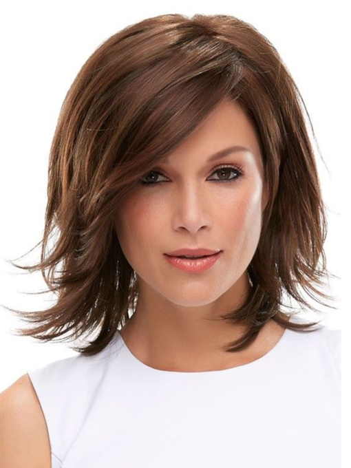 Women's Natural Volume Layered Straight Human Hair Wigs With Bangs Capless 120% 12 Inches Wigs